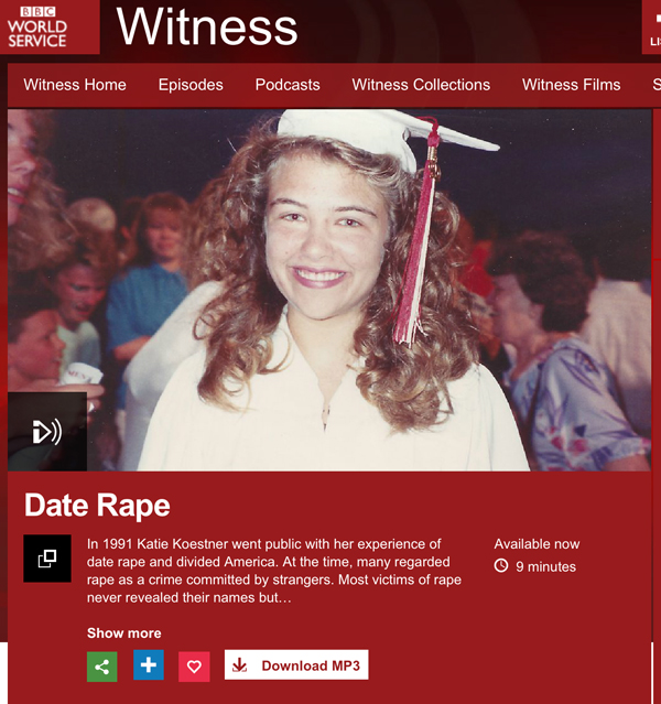 """Katie Koestner's article on BBC News: """"How I convinced the world you can be raped by your date"""""""