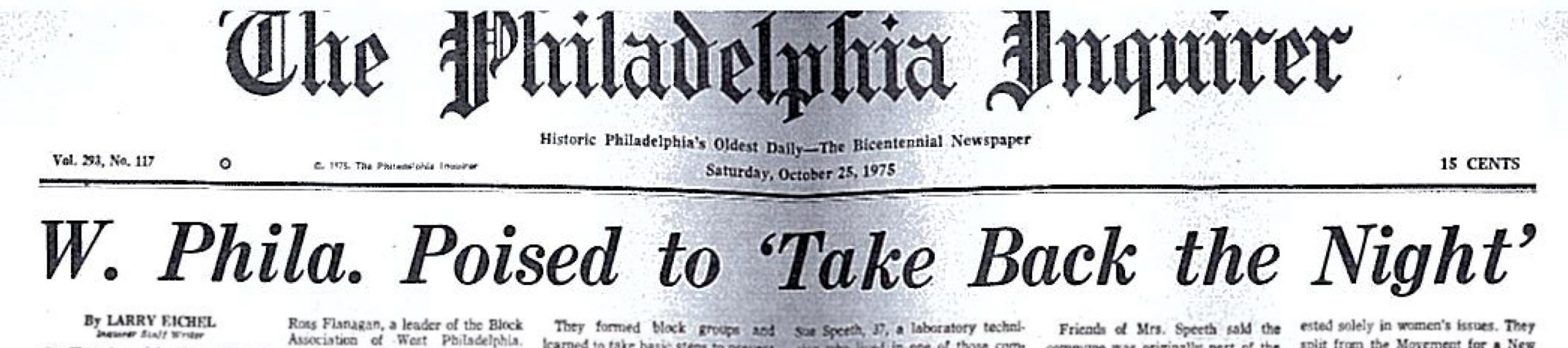 "An article on the Philadelphia Inquirer titled ""West Philadelphia posted to Take Back the Night"""